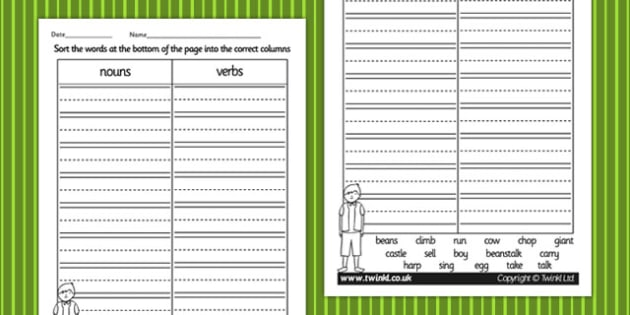 Jack and the Beanstalk Noun and Verb Sorting Activity - literacy