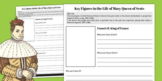 Francis II - Mary Queen of Scots Key Figures Fact File - fact file, scotland