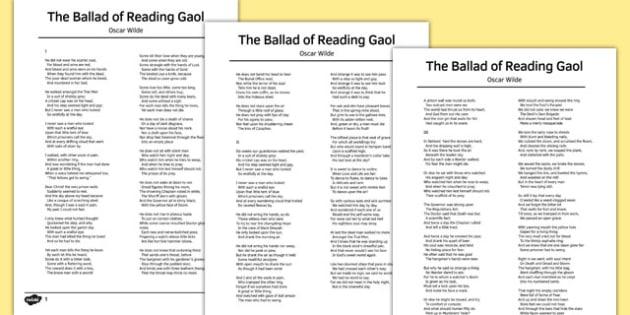 The Ballad of Reading Gaol by Oscar Wilde Poem - poem, poetry, gaol