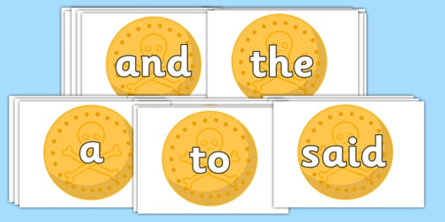 100 High Frequency Words on Pirate Coins - High frequency words, hfw, DfES Letters and Sounds, Letters and Sounds, display words