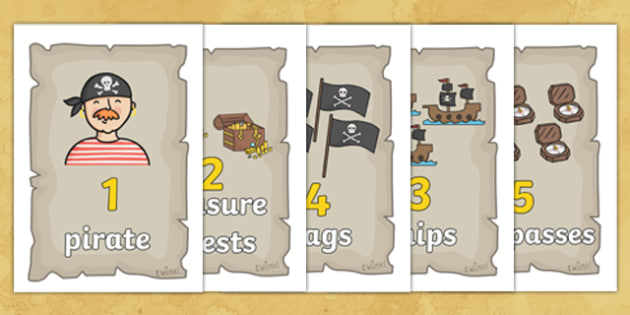Pirate Number Posters - Pirate, Foundation Numeracy, Number recognition, Number flashcards, A4, display,  pirate, pirates, treasure, ship, jolly roger, ship, island, ocean