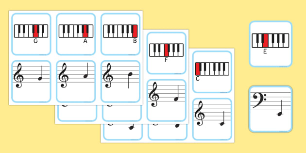 Piano Musical Note Recognition Memory Cards - piano, music, musical notes, memory cards, word cards, music cards, recognition, memory, themed memory cards