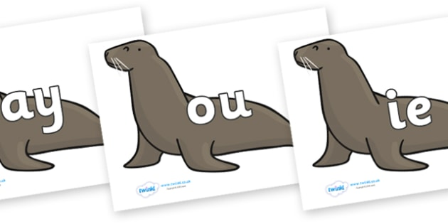 Phase 5 Phonemes on Sealions - Phonemes, phoneme, Phase 5, Phase five, Foundation, Literacy, Letters and Sounds, DfES, display