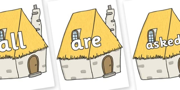 Tricky Words on Cottage - Tricky words, DfES Letters and Sounds, Letters and sounds, display, words