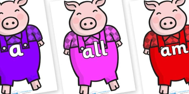 Foundation Stage 2 Keywords on Pigs - FS2, CLL, keywords, Communication language and literacy,  Display, Key words, high frequency words, foundation stage literacy, DfES Letters and Sounds, Letters and Sounds, spelling