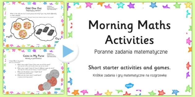 Morning Maths Activities PowerPoint Polish/English