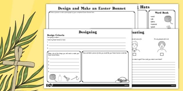Design and Make an Easter Bonnet Booklet - designing, bonnets