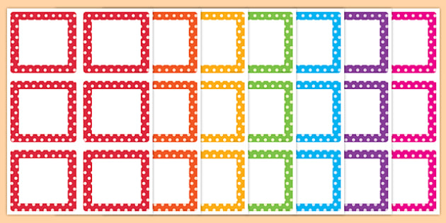 Multicoloured Polka Dot Square Peg Labels