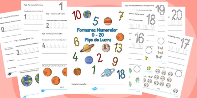 Number Formation Workbook Space Romanian - romanian, number formation