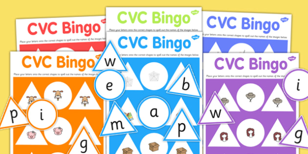 CVC Bingo Game - cvc, bingo, game, activity, words, sounds, class