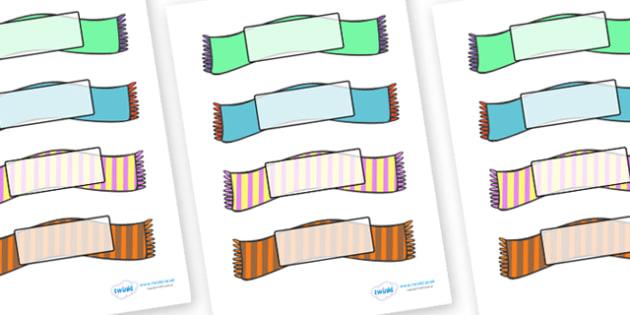Editable Self Registration Labels (Wooly Scarfs) - Self registration, register,wooly scarfs, scarfs, winter, editable, labels, registration, child name label, printable labels