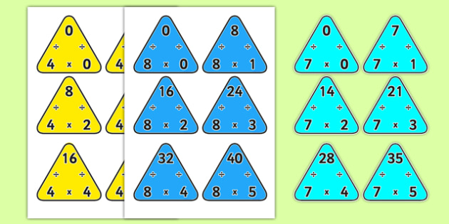 Multiplication Triangles 4, 7 and 8 Times Tables - multiplication triangles, times table, times tables