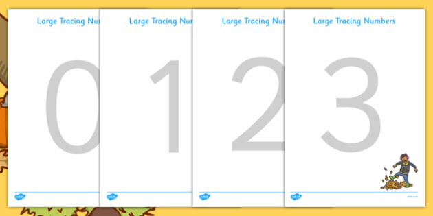 Large Tracing Numbers (Autumn Themed) - Tracing numbers, tracing sheet, 0-9 tracing, 0-90, number formation, number writing practice, foundation stage numeracy, writing, learning to write, Autumn, seasons, harvest,  harvest festival, fruit, apple, pe