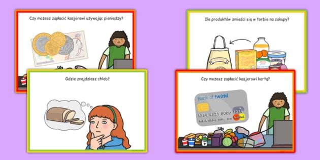 Karty z wyzwaniami Supermarket po polsku - sklep, sprzedawca