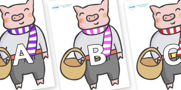 A-Z Alphabet on Little Piggy - A-Z, A4, display, Alphabet frieze, Display letters, Letter posters, A-Z letters, Alphabet flashcards