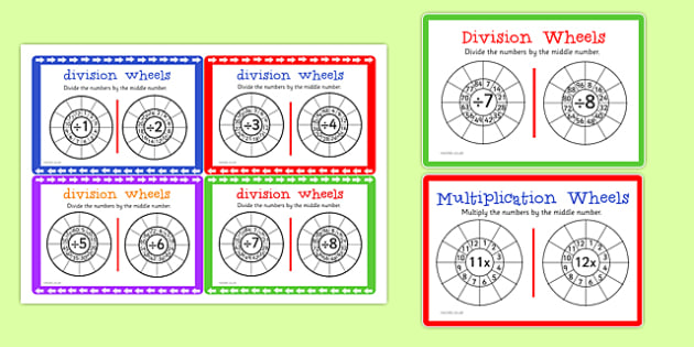 Multiplication and Division Wheels Maths Challenge Cards - maths