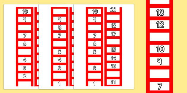 Ladder Missing Number to 20 Worksheets - ladder, numbers, maths
