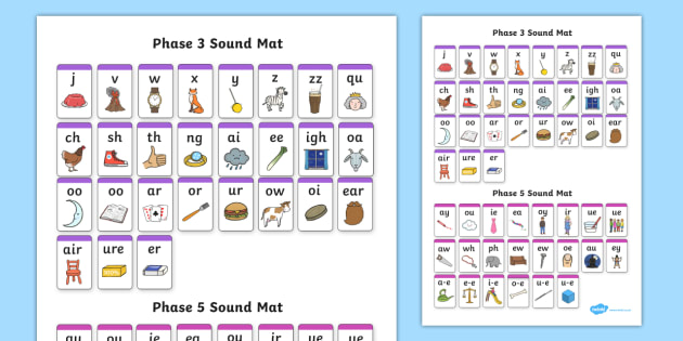 Phase 3 and 5 Sound Mat - Letters and Sounds, Phonics, English, reading, sounding, visual aid