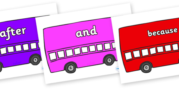Connectives on Buses - Connectives, VCOP, connective resources, connectives display words, connective displays
