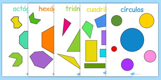 2D Regular and Irregular Shape Posters Spanish - spanish, 2d, regular, irregular, shapes, 2d shapes, posters, display