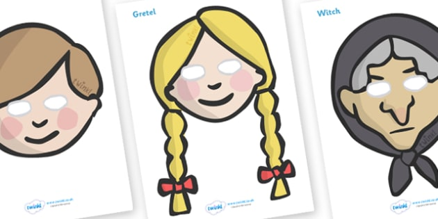 Hansel and Gretel Role Play Masks - role play mask, role play, Hansel and Gretel, Brothers Grimm, witch, Hansel, Gretel, gingerbread house, fairytale, traditional tale, woodcutter, forest, story, story sequencing, story resources,
