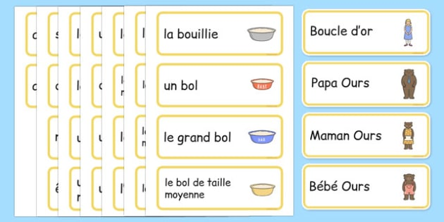 Goldilocks and the Three Bears Words Cards French - french, Goldilocks and the Three Bears, traditional tales, word cards, tale, three bears, porridge, cottage, beds, flashcards