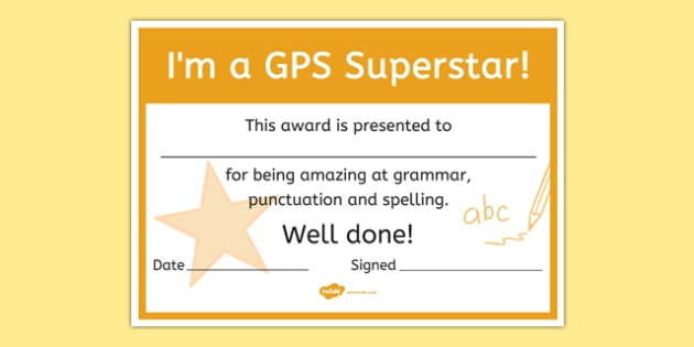 I'm a Grammar Punctuation and Spelling Superstar Certificate - i'm a, grammar, punctuation, spelling, superstar, spag, certificate, award, reward, praise