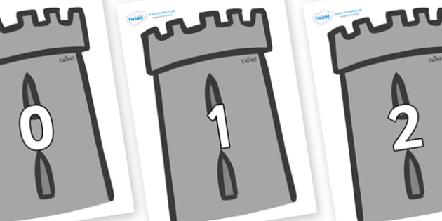 Numbers 0-100 on Turrets - 0-100, foundation stage numeracy, Number recognition, Number flashcards, counting, number frieze, Display numbers, number posters