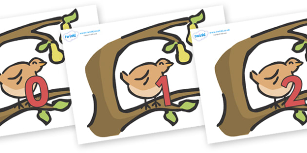 Numbers 0-50 on Partridge in a Pear Tree - 0-50, foundation stage numeracy, Number recognition, Number flashcards, counting, number frieze, Display numbers, number posters