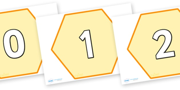 0-31 on Hexagon Honeycombs - 0-31, numbers on honeycombs, numbers on hexagons, 0-31 on hexagons, bee display numbers, bees, minibeasts, 0-50, up to 50