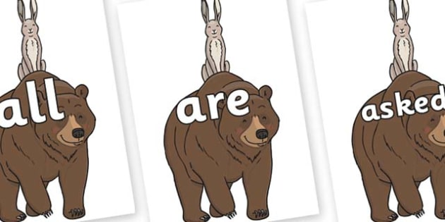 Tricky Words on Bear and the Hare - Tricky words, DfES Letters and Sounds, Letters and sounds, display, words