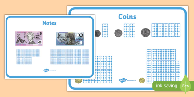 Maths Intervention Money Mats - australia, SEN, special needs, maths, money, counting money, recognising money, adding money, coins, notes