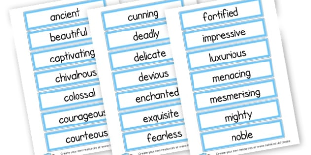 Adjective Cards - Adjectives Primary Resources, cll, wow, keywords, describing words