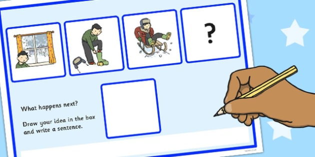 What Happens Next? Fill in the Blank Worksheet for 'Playing in the Snow' - what happens next, snow