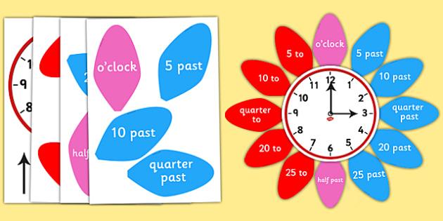 Analogue Clock Flower Labels - analogue, clock, flower, labels