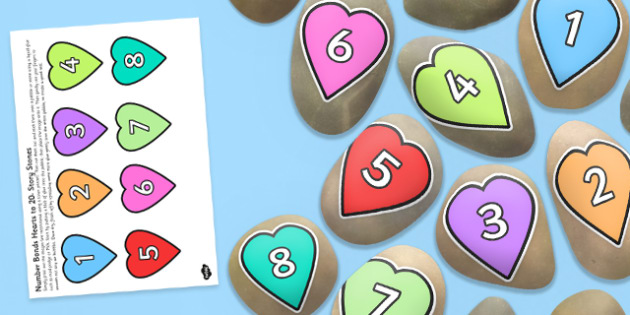 Number Bonds Matching Hearts up to 20 Story Stone Image Cut-Outs - Story stones, stone art, painted rocks, storytelling, festivals, celebrations