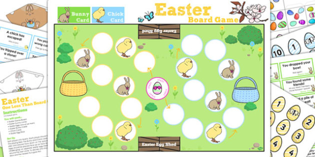 One Less Than Easter Bunny Hop Board Game - games, activity