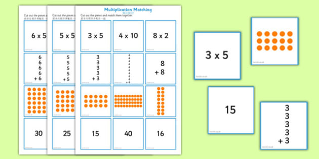 2, 5 and 10 Times Table Multiplication Matching Puzzle Mandarin Chinese Translation - chinese mandarin, multiplication, matching, puzzle
