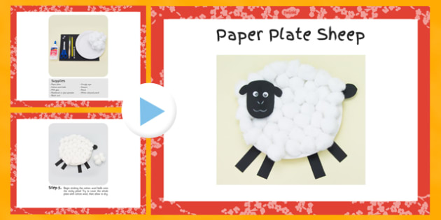 Paper Plate Sheep Craft Instructions PowerPoint - craft, instructions, paper plate, sheep, powerpoint