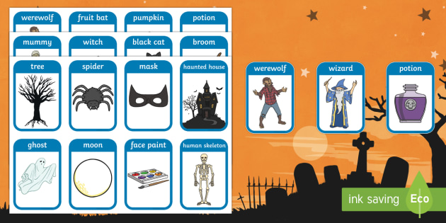 Halloween Flashcards - visual aid, keyword, discussion prompt