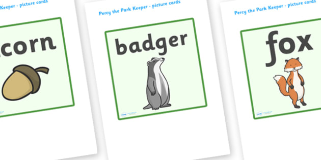 Picture Cards to Support Teaching on Percy The Park Keeper - percy the park keeper, percy, picture, cards, words, flashcards, park, rabbit, fox, acorn, shed, wheelbarrow, mole, owl