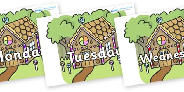 Days of the Week on Gingerbread House - Days of the Week, Weeks poster, week, display, poster, frieze, Days, Day, Monday, Tuesday, Wednesday, Thursday, Friday, Saturday, Sunday