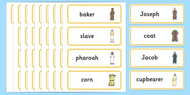 Joseph Word Cards - Joseph, coat, Jacob, bible story, bible, slave, word card, flashcards, cards, brothers, cupbearer, pharao, prison, cows, corn, dreams, Palace, Egypt, fat, thin