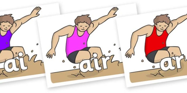 Phase 3 Phonemes on Long Jump - Phonemes, phoneme, Phase 3, Phase three, Foundation, Literacy, Letters and Sounds, DfES, display