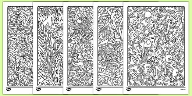 William Morris Themed Mindfulness Colouring Sheets - william morris, themed, mindfulness, colouring, sheets