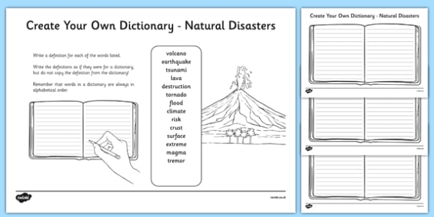 Natural Disasters Key Vocabulary Create Your Own Dictionary-Scottish