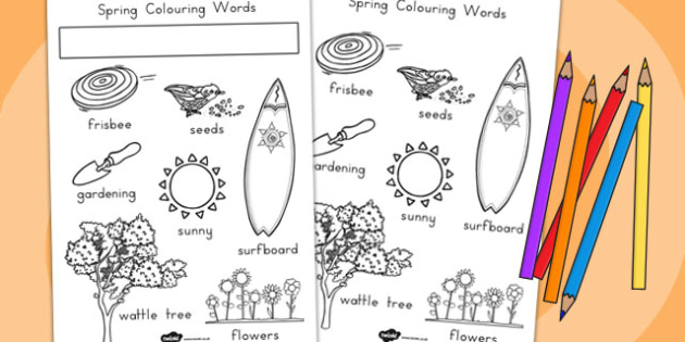 Spring Words Colouring Sheet - Spring, Words, Colouring, Sheet