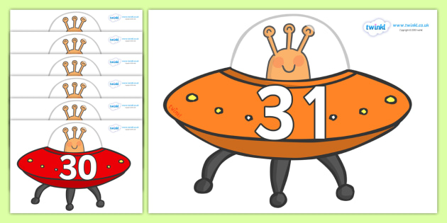 Numbers 0-31 on Spaceships - 0-31, foundation stage numeracy, Number recognition, Number flashcards, counting, number frieze, Display numbers, number posters