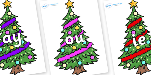 Phase 5 Phonemes on Christmas Trees (Decorated) - Phonemes, phoneme, Phase 5, Phase five, Foundation, Literacy, Letters and Sounds, DfES, display