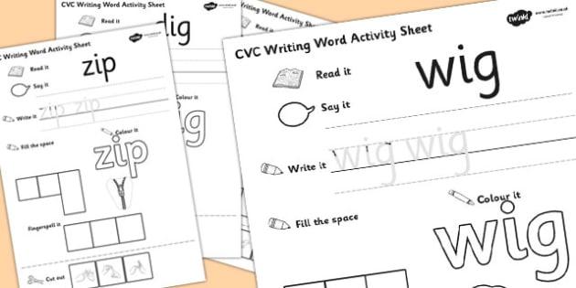 CVC Writing Word Activity Sheet Pack 'i' with British Sign Language, worksheet